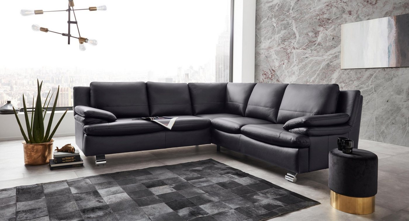 Sofas - Places of Style Ecksofa »Dover335«, gleichschenklig, in Echtleder  - Onlineshop OTTO