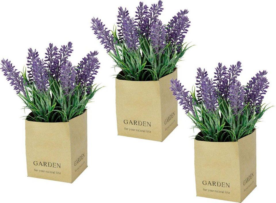 25cm Kunstpflanze Kunstblume Lavendeltopf Künstlicher Lavendel im Zementtopf ca