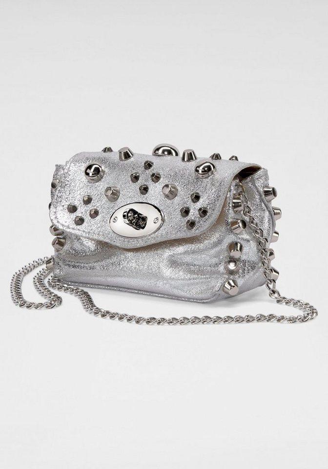 GUIDO MARIA KRETSCHMER Abendtasche, aus hochwertigem Leder mit silberfarbenden Nieten   Taschen > Handtaschen > Abendtaschen   GUIDO MARIA KRETSCHMER