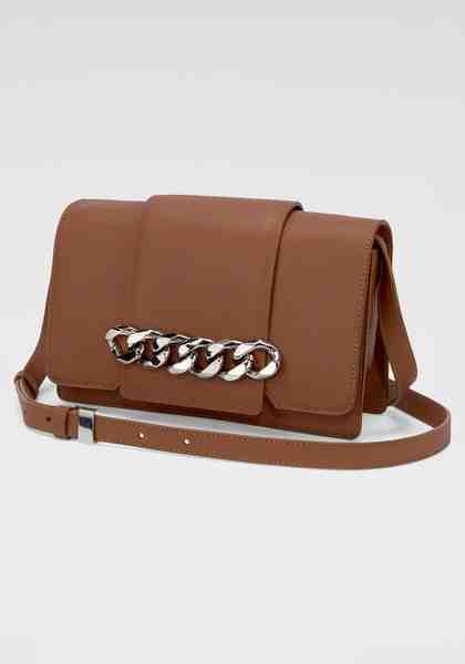 GUIDO MARIA KRETSCHMER Handtasche, aus hochwertigem Leder mit silberfarbener Kettenapplikation