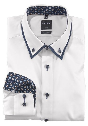 OLYMP Businesshemd »Luxor modern fit« doppelter Button-down-Kragen mit hohem Steg