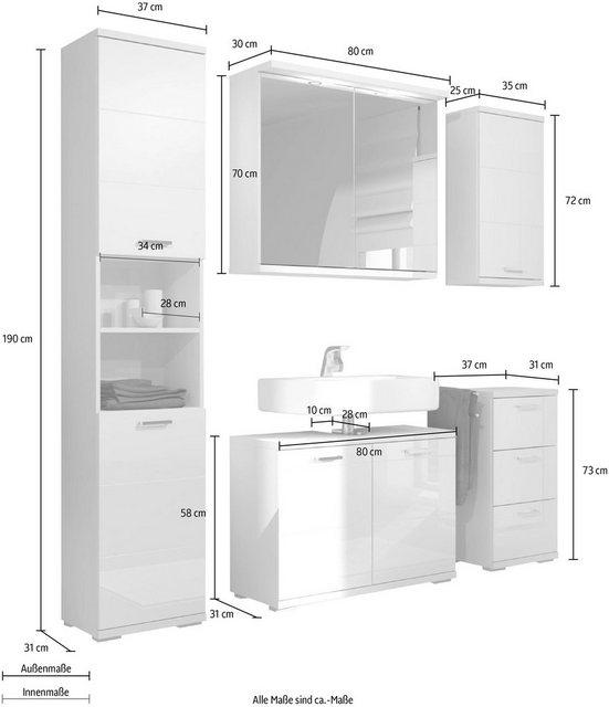 Badezimmer Sets - Homexperts Badmöbel Set »Nusa«, (5 tlg), aus Spiegelschrank inkl. LED Beleuchtung, Hochschrank, Waschbeckenunterschrank, Hängeschrank und Unterschrank, Badezimmerschrank mit Metallgriffen und MDF Fronten in Hochglanz Optik  - Onlineshop OTTO