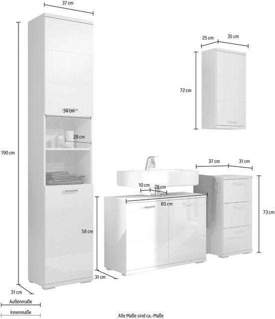 Badezimmer Sets - Homexperts Badmöbel Set »Nusa«, (4 tlg), aus Hochschrank, Waschbeckenunterschrank, Hängeschrank und Unterschrank, Badezimmerschrank mit Metallgriffen und MDF Fronten in Hochglanz Optik  - Onlineshop OTTO