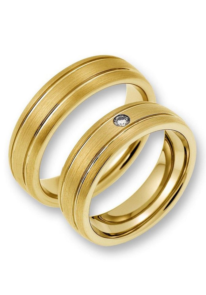 CORE by Schumann Design Partnerring »TW025.07/19104780, TW025.06/19104745« wahlweise mit oder ohne Zirkonia, Made in Germany | Schmuck > Ringe > Partnerringe | Goldfarben | CORE by Schumann Design