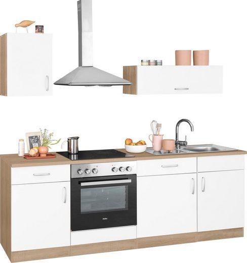 wiho Küchen Küchenzeile »Brilon«, mit E-Geräten, Breite 220 cm