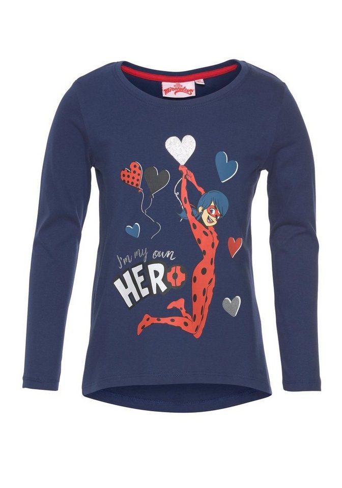 Damen Disney Langarmshirt »Ladybug« Miraculous-Druck mit Glitzerdetails blau  KOB-T-Shirts Maedchen
