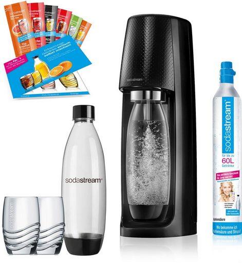 SodaStream Wassersprudler »Easy«, (Set, 12-tlg., 1 Wassersprudler, 1 CO2-Zylinder, 2 PET-Flaschen, 2 Gläser, 6 Sirupproben), Promopack