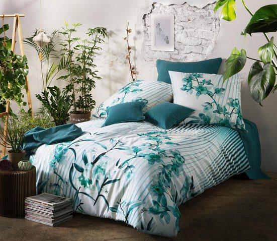 Wendebettwäsche »Amazonas Bed Art S«, fleuresse, mit Blüten und Streifen