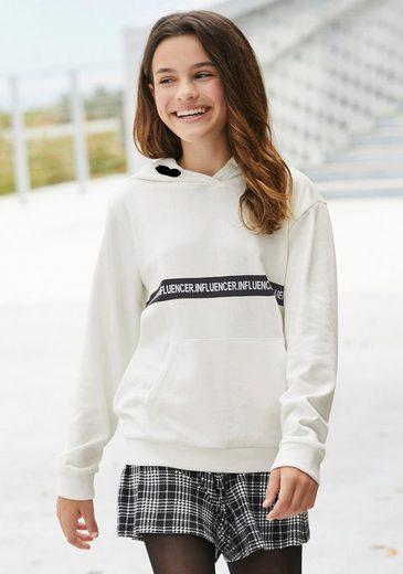 Arizona Kapuzensweatshirt »INFLUENCER« Druck, in weiter, modischer Form
