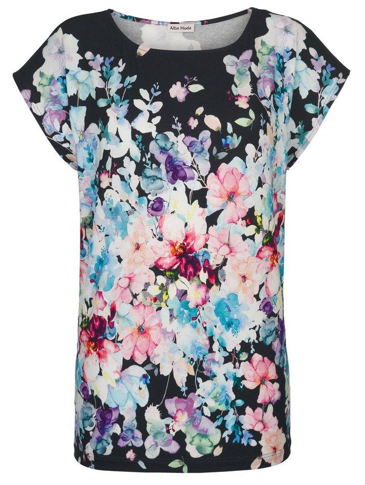 Alba Moda Strandshirt mit Aquarellblumen