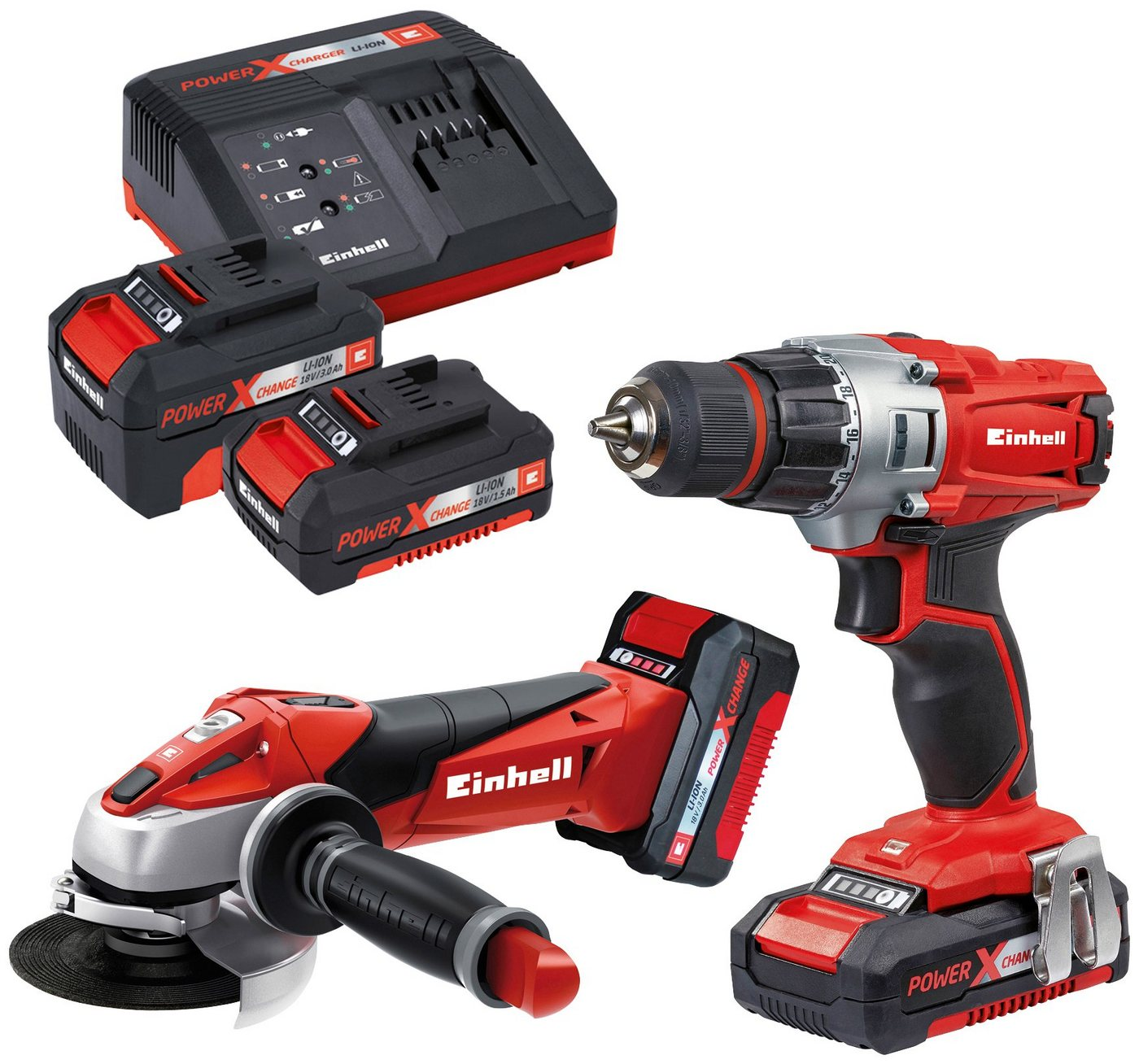 EINHELL Elektrowerkzeug-Set »TE-TK 18 Li Kit«, Akku-Winkelschleifer & Akku-Bohrschrauber, 2 Li-Ion-Akkus | Baumarkt > Werkzeug > Werkzeug-Sets | Rot | Einhell