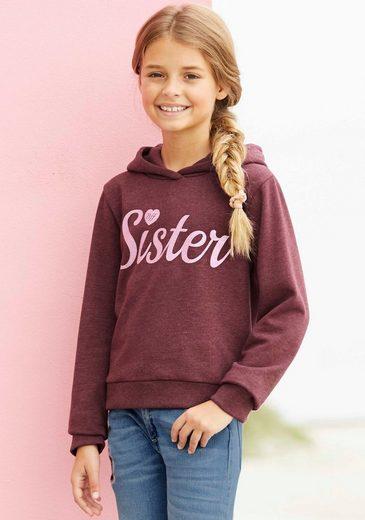 Arizona Kapuzensweatshirt »SISTER« in kurzer Form