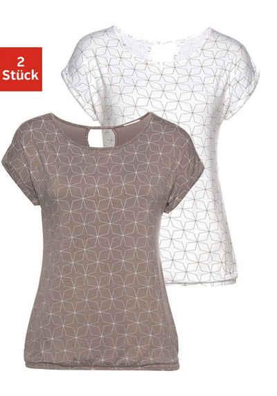 cf470b7e687f7e LASCANA T-Shirt (2er-Pack) mit kleinem Cut-Out im Nacken