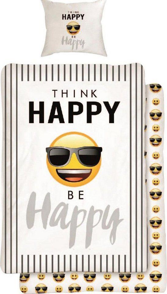 Jugendbettwäsche »Happy«, mit Emojis | Kinderzimmer > Textilien für Kinder > Kinderbettwäsche | Weiß | OTTO