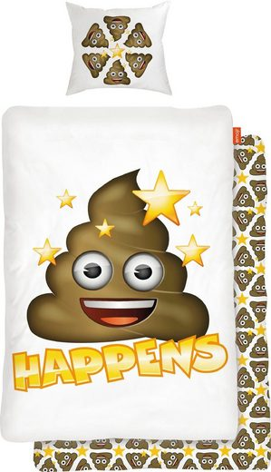 Kinderbettwäsche »Shit Happens«, mit Emoji
