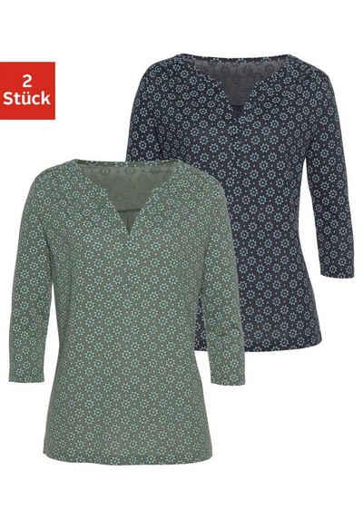 LASCANA 3/4-Arm-Shirt (2er-Pack) mit kleiner Schulterraffung