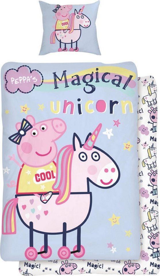 Kinderbettwäsche »Magical Unicorn«, mit Einhorn | Kinderzimmer > Textilien für Kinder > Kinderbettwäsche | Blau | OTTO