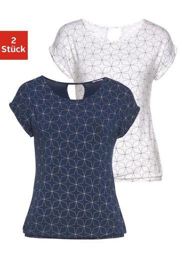 LASCANA T-Shirt (2er-Pack) mit kleinem Cut-Out im Nacken