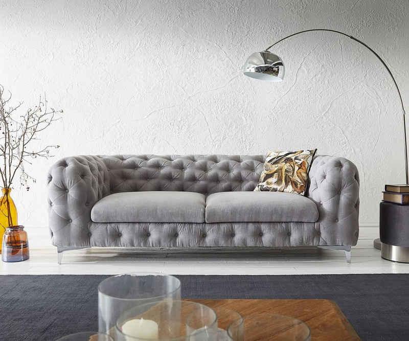 DELIFE 3-Sitzer »Corleone«, Grau 225x97 cm 3-Sitzer Couch