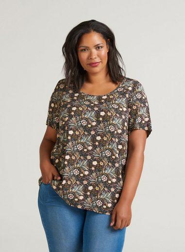 Zizzi Kurzarmbluse Damen Große Größen Bluse Kurzarm Blumenmuster Elegant Blusenshirt
