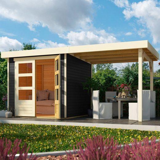 KARIBU Set: Gartenhaus »Arnis 2«, BxT: 467x238 cm, inkl. Anbaudach