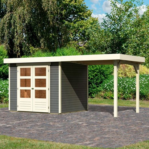KARIBU Set: Gartenhaus »Arnis 3«, BxT: 491x238 cm, inkl. Anbaudach