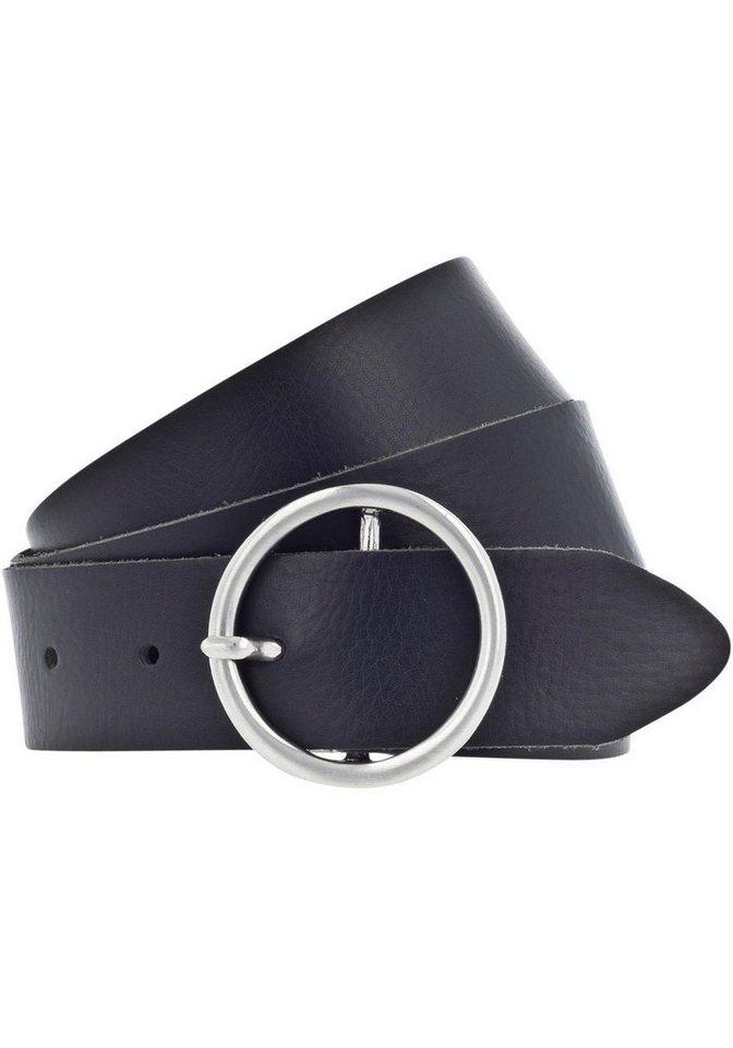 Damen TOM TAILOR Denim Ledergürtel Mit mattierter Schließe grau, schwarz   04043825555337