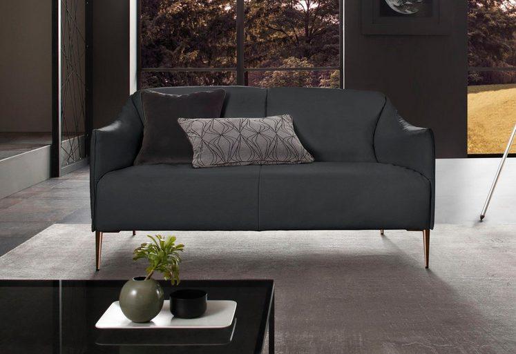 W.SCHILLIG 2-Sitzer Ledersofa »sally« mit Metallfüßen in Bronze pulverbeschichtet, Breite 154 cm