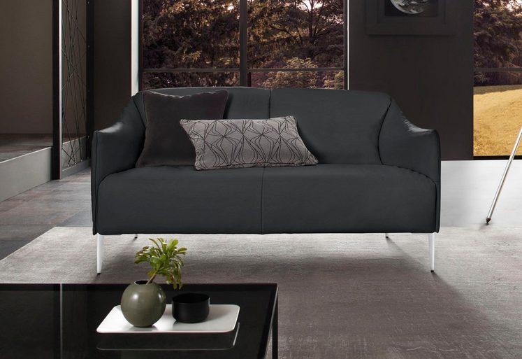 W.SCHILLIG 2-Sitzer Ledersofa »sally« mit Metallfüßen in Chrom glänzend, Breite 154 cm