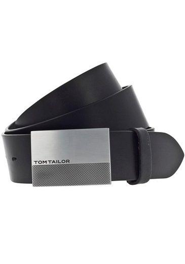 TOM TAILOR Koppelgürtel Ledergürtel mit Logokoppelschließe
