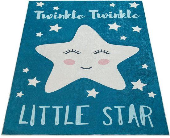 Kinderteppich »Aleyna 105«, Paco Home, rechteckig, Höhe 6 mm, Kinder Design, niedliches Stern Motiv mit Print