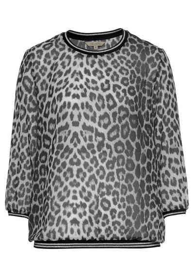 herrlicher chiffonbluse layana mit leo print und sportiven  alessa w shirt mit glitzerbandern damen bekleidung ojxzxqlsv #13