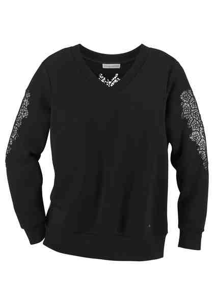 GUIDO MARIA KRETSCHMER Sweatshirt mit femininen Spitzeneinsätzen
