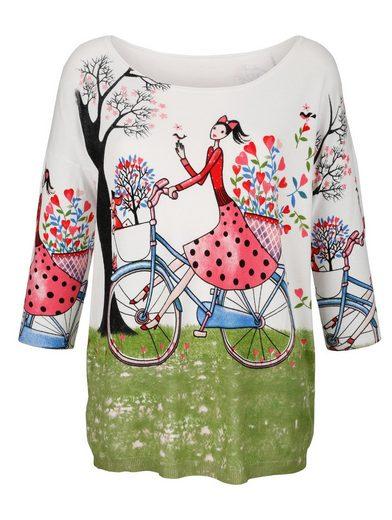 Alba Moda Pullover mit farbenfrohem Motiv-Druck vorne