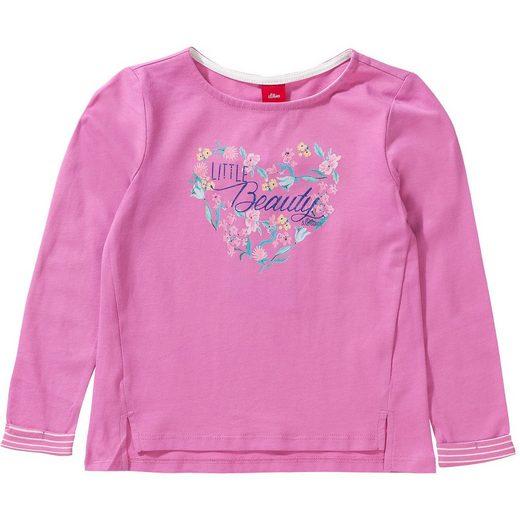 s.Oliver Baby Langarmshirt mit Glitzer-Print für Mädchen REG