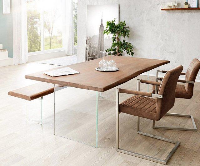 Tische - DELIFE Esstisch Live Edge Braun 200x100 2 Stühle 1 Bank  - Onlineshop OTTO