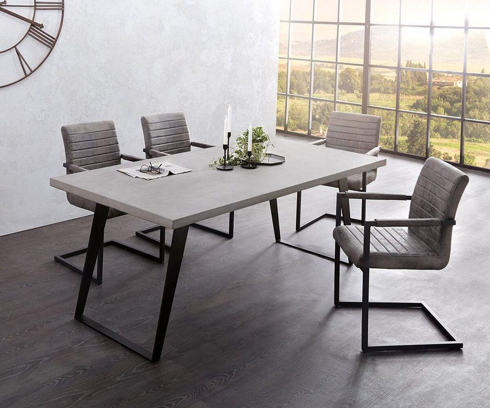 DELIFE Esstisch Cement-Edge 200x100 Cm Mit 6 Stühlen