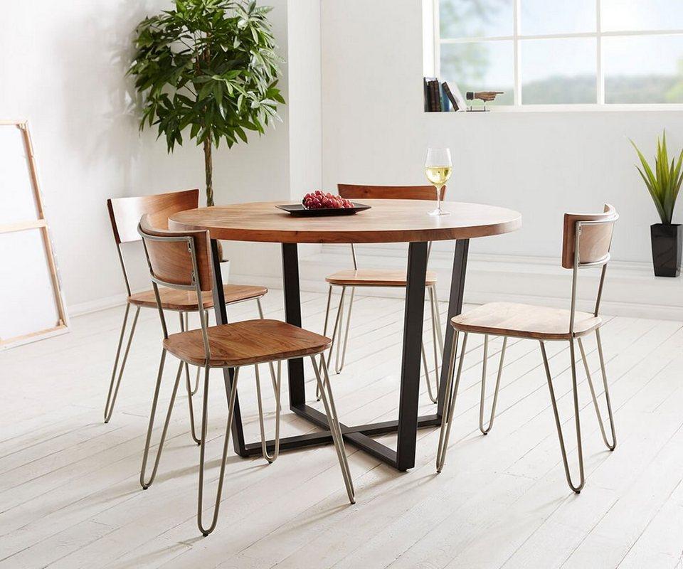 DELIFE Tisch Tamana Akazie Natur 120x120 Mit 4 Stühlen