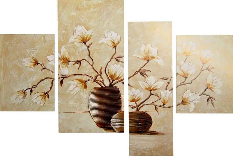 DELAVITA Bild »RUMIN / Vase mit Magnolien«, (4 Stück)