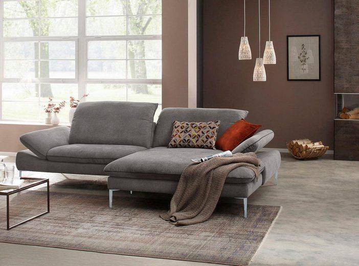 W.SCHILLIG Ecksofa »enjoy&MORE«, mit Sitztiefenverstellung, Füße silber matt, Breite 294 cm