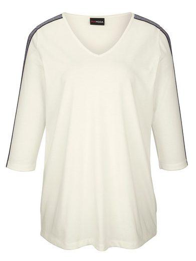 MIAMODA Shirt mit Glitzerband entlang der Ärmel und Schultern