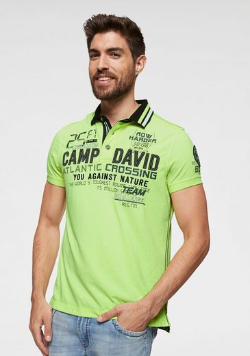 CAMP DAVID Poloshirt mit großem Frontprint