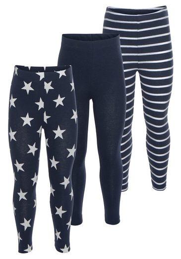 KIDSWORLD Leggings (Packung, 3-tlg) in Uni, mit Ringel oder Sternen