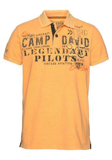 CAMP DAVID Poloshirt mit großem Frontdruck