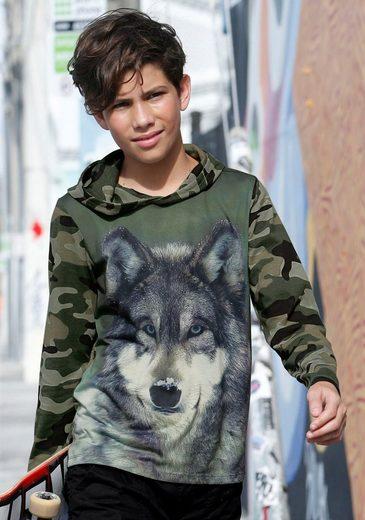 "Arizona Kapuzenshirt mit Fotodruck "" Wolf """