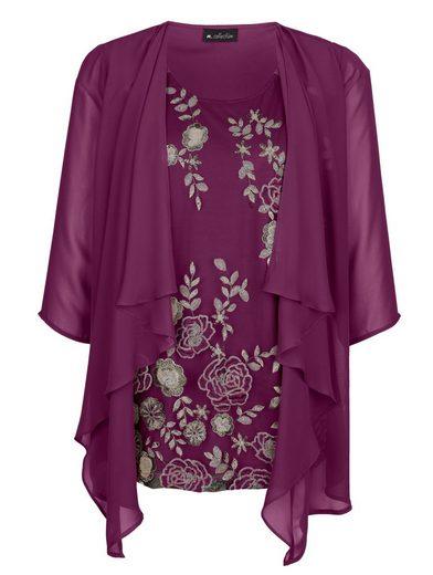 m. collection 2-in-1 Shirt mit floral besticktem Einsatz vorne