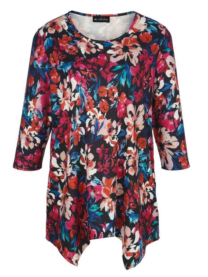 m. collection Zipfelshirt mit Blumendruck-Muster rundum | Bekleidung > Shirts > Zipfelshirts | Schwarz | m. collection