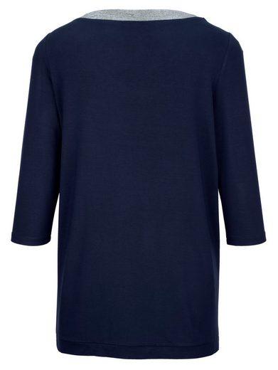 MIAMODA Shirt mit glitzerndem Ausschnitt