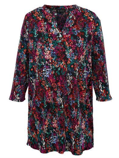 m. collection Plissee-Longshirt mit modischer Ausschnitt-Variante
