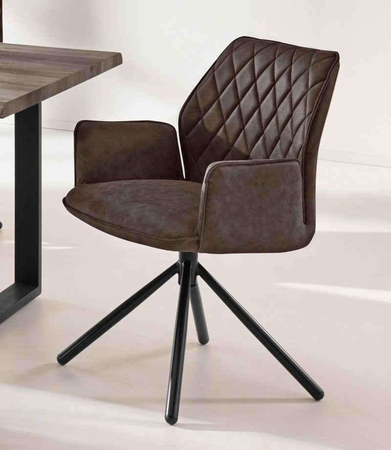 INOSIGN Esszimmerstuhl »Preston« (Set, 2 Stück), mit weichem Luxus-Microfaser Bezug in Lederoptik, mit schwarzen pulverbeschichteten Metallbeinen, Sitzhöhe 48 cm